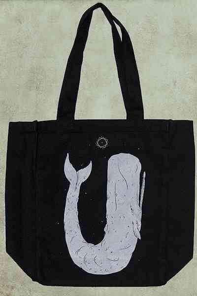 Moby Dick - Black Canvas Tote