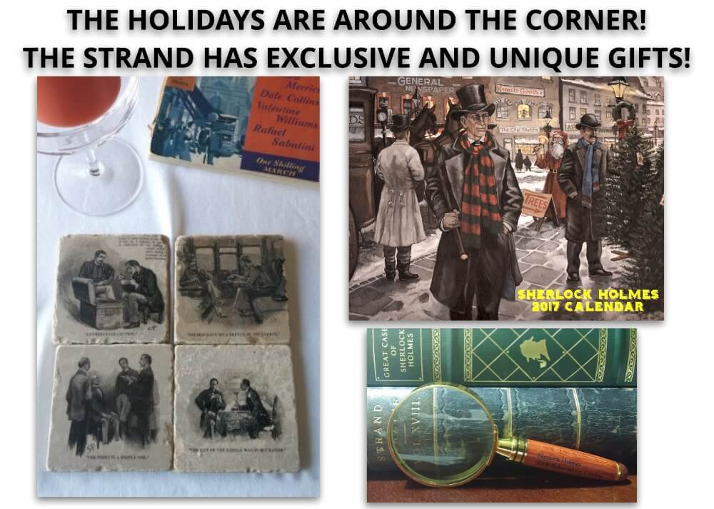 Strand Mystery Magazine offers unique gifts included and pictured of a calendar, coasters, and a magnifying glass