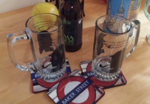 Sherlock Holmes Beer Glasses and Set of Baker Street Coasters