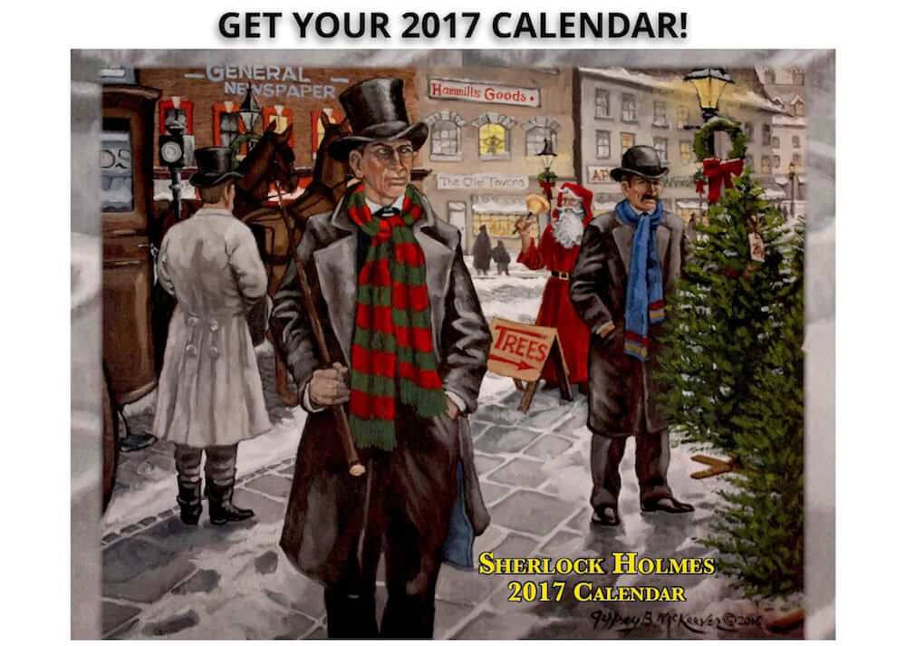 Sherlock holmes calendar, Holmes and Watson shopping for a tree
