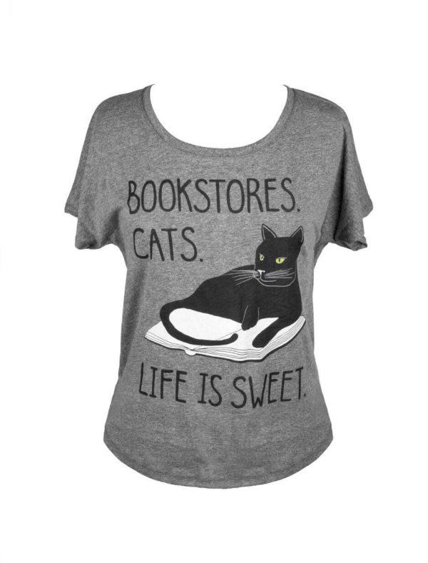 BOOKSTORE CATS LIFE IS SWEET WOMEN'S T-SHIRT