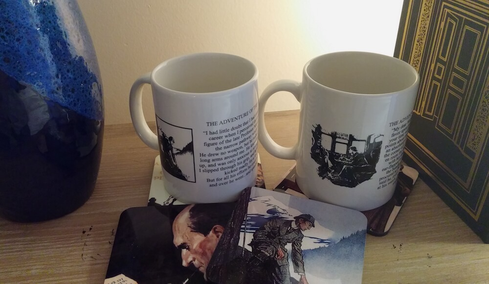 Sherlock Holmes Coffee Mug and Set of Full Color Coasters