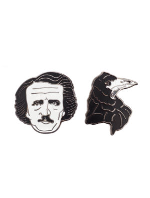 EDGAR ALLAN POE AND RAVEN Lapel Pin Set
