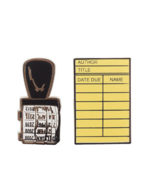 LIBRARY CARD AND STAMP Lapel Pin Set