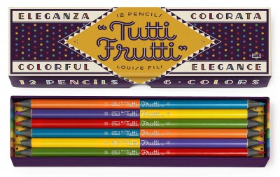 Inspired by classic Italian packaging and stationery, celebrated designer Louise Fili brings her pencil collection into full color. This fun and stylish set, a companion to Fili'sPerfetto Pencils, contains twelve double-sided pencils in six tutti Frutti shades, ideal for drawing or writing.