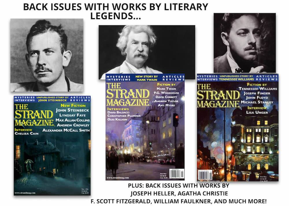Back issues with works by Steinbeck, Williams, and Twain