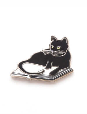 Bookstore Cat Lapel Pin