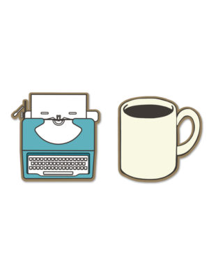 Typewriter and Coffee Lapel Pin Set