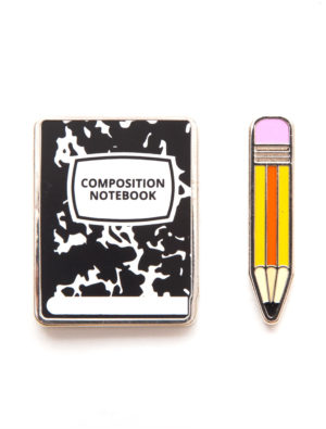 Never leave home without your pad and pencil. Accessorize your love of literature with our Notebook and Pencil enamel pin set! Product Details Set of 2 pins Brass with black nickel finish Weight of set: 0.3 ounces 1 inch in diameter