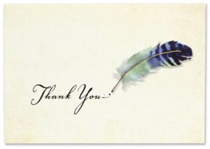 Watercolor Quill Thank You Notes